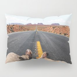 on the road in the monument valley Pillow Sham
