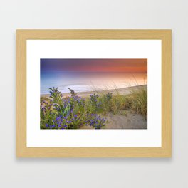 """Purple flowers at the sea sunset"" Framed Art Print"