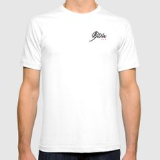 BITCH White Mens Fitted Tee SMALL