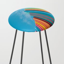 Colorful Rainbow Pipes Against Blue Sky Counter Stool