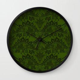 Stegosaurus Lace - Green Wall Clock