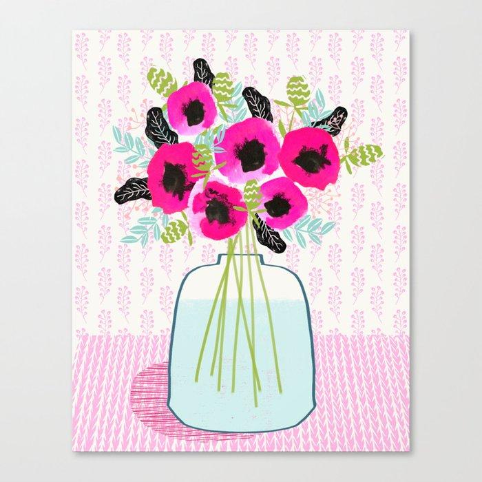 Poppies Vase of flowers cut flower mother's day cute florals illustration Andrea Lauren Canvas Print