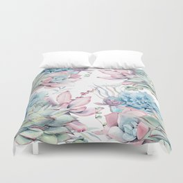 Pretty Pastel Succulents Garden 2 Duvet Cover