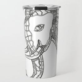 Bull  Elephant Head Doodle Art Travel Mug