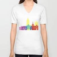 leon V-neck T-shirts featuring Leon skyline pop by Paulrommer