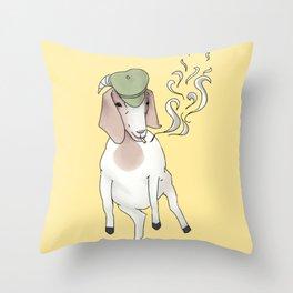 Smoking Goat Throw Pillow
