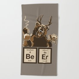 Funny chemistry bear discovered beer Beach Towel