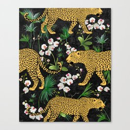 Black Leopard Floral Tableaux Canvas Print