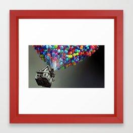 UP -  Colorful - Balloons - Black & White Framed Art Print