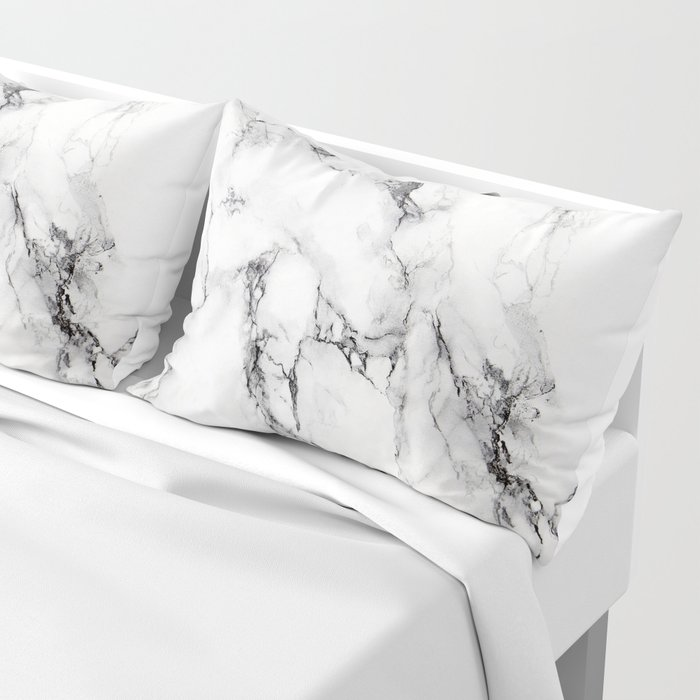 White Marble Texture Pillow Sham
