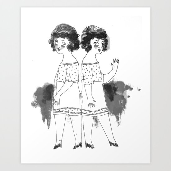 Siamesas  Art Print