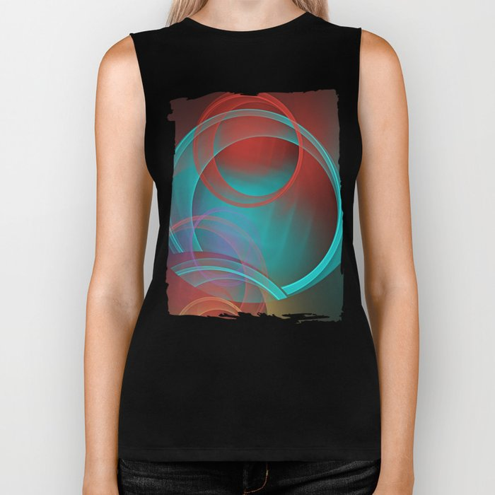 Abstract with translucent geometric shapes Biker Tank