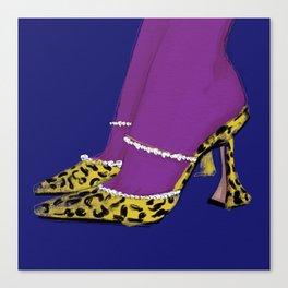 Leopard Heels Blue Canvas Print