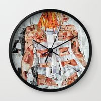 fifth element Wall Clocks featuring LEELOO THE FIFTH ELEMENT by JANUARY FROST