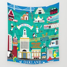 Oakland, California - Collage Illustration by Loose Petals Wall Tapestry
