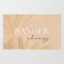Wander always / Words, Quotes & Phrases / Pastel Wanderlust Typography art print Rug