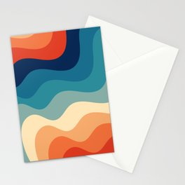 Retro 70s and 80s Color Palette Mid-Century Minimalist Abstract Art Ocean Waves Stationery Cards