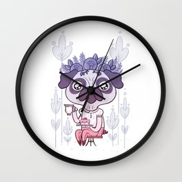 Tea Time for Pug Wall Clock
