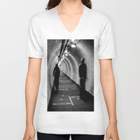 cycling V-neck T-shirts featuring No Cycling by Dawn OConnor