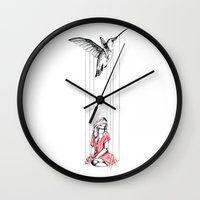 hummingbird Wall Clocks featuring Hummingbird by Libby Watkins Illustration