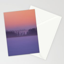 Foggy Winter Evening With Beautiful Sunset Colors In The Sky #decor #buyart #society6 Stationery Cards