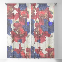 Red White Blue Floral Gems Sheer Curtain
