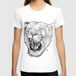 Lioness head line drawing / BW T-shirt
