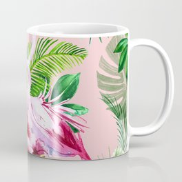 watercolor illustration of a tropical leaf and a pink flamingo Coffee Mug