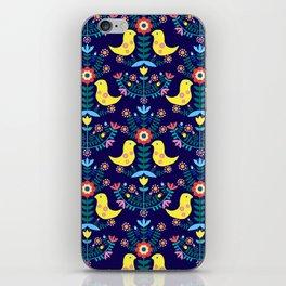 Folk Birds Blue iPhone Skin