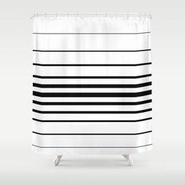 Clean Simple Minimal Stripes (black on white) Shower Curtain