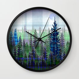 Plaid Forest Wall Clock