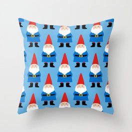 Gnome Repeat in Blue Throw Pillow