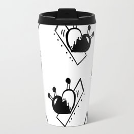 Hearts with Stitches - Black Travel Mug