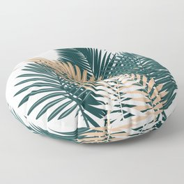 Gold and Green Palm Leaves Floor Pillow