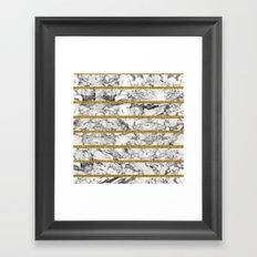 Black white marble gold glitter effect stripes  Framed Art Print