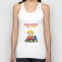 super heroes Tank Tops featuring Super Heroes Are Learners by youngmindz