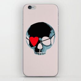 Blue punk skull with heart iPhone Skin