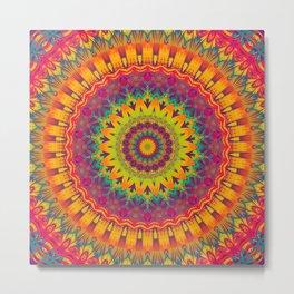 Mandala 073 (Neon) Metal Print