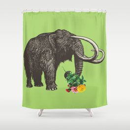 A Mammoth in Love - Lime Shower Curtain