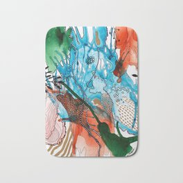 Orange and Blue Botanical Coral Reef Abstract Bath Mat
