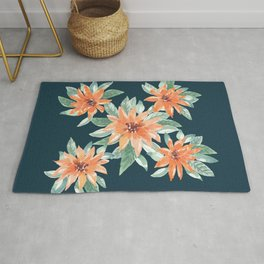 Orange star floral _Hand Painted watercolour  Rug