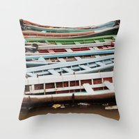 boats Throw Pillows featuring Boats by BTP Designs