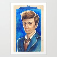 david tennant Art Prints featuring David Tennant 10th Doctor Who by Tiffany Willis