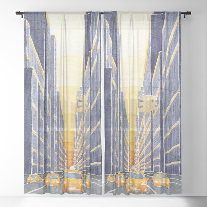 Nyc Yellow Cabs Sheer Curtains Drapes By Vapinx Katarzyna L 50 X 84 Set Of Two Sportspyder