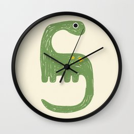 Cute Green Diplodocus Dinosaur Wall Clock