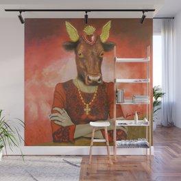 Flamenco-dancing red cow Wall Mural
