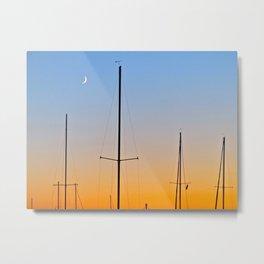 Moon and Sunset Metal Print