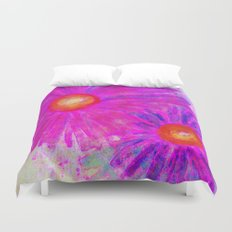 Bright Pink Sketch Flowers Duvet Cover