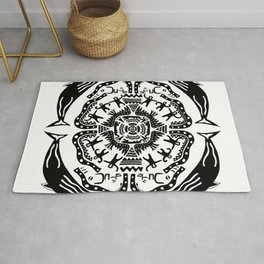 Soul Of The Dream Desert - A Conversation Amongst Animals (Black and White Edition) Rug