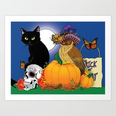 Owl and Cat Halloween Art Print